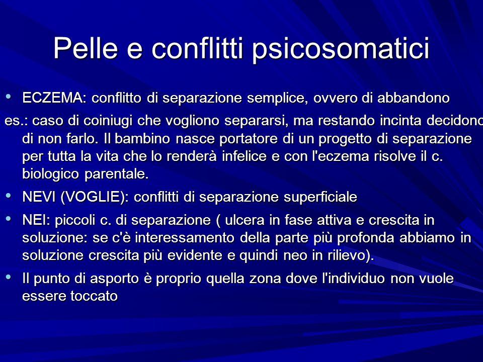 Pelle e conflitti psicosomatici ECZEMA: conflitto di separazione semplice, ovvero di abbandono ECZEMA: conflitto di separazione semplice, ovvero di ab