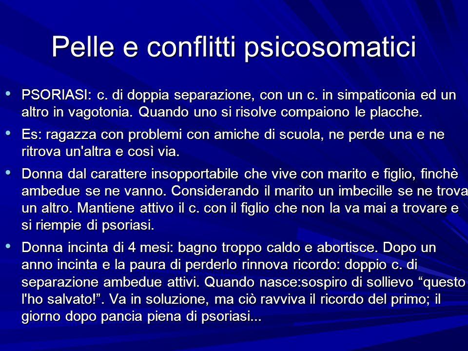 Pelle e conflitti psicosomatici PSORIASI: c. di doppia separazione, con un c. in simpaticonia ed un altro in vagotonia. Quando uno si risolve compaion