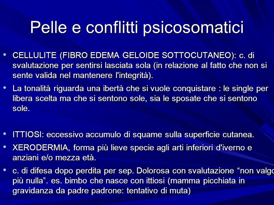 Pelle e conflitti psicosomatici CELLULITE (FIBRO EDEMA GELOIDE SOTTOCUTANEO): c. di svalutazione per sentirsi lasciata sola (in relazione al fatto che