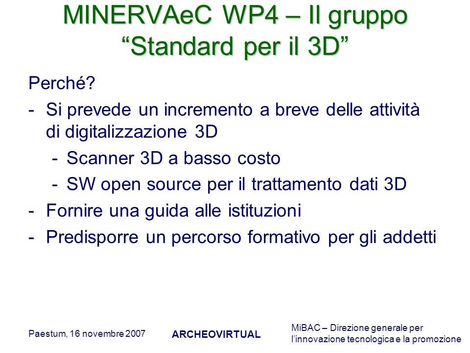 MiBAC – Direzione generale per linnovazione tecnologica e la promozione Paestum, 16 novembre 2007 ARCHEOVIRTUAL MINERVAeC WP4 – Il gruppo Standard per il 3D Perché.