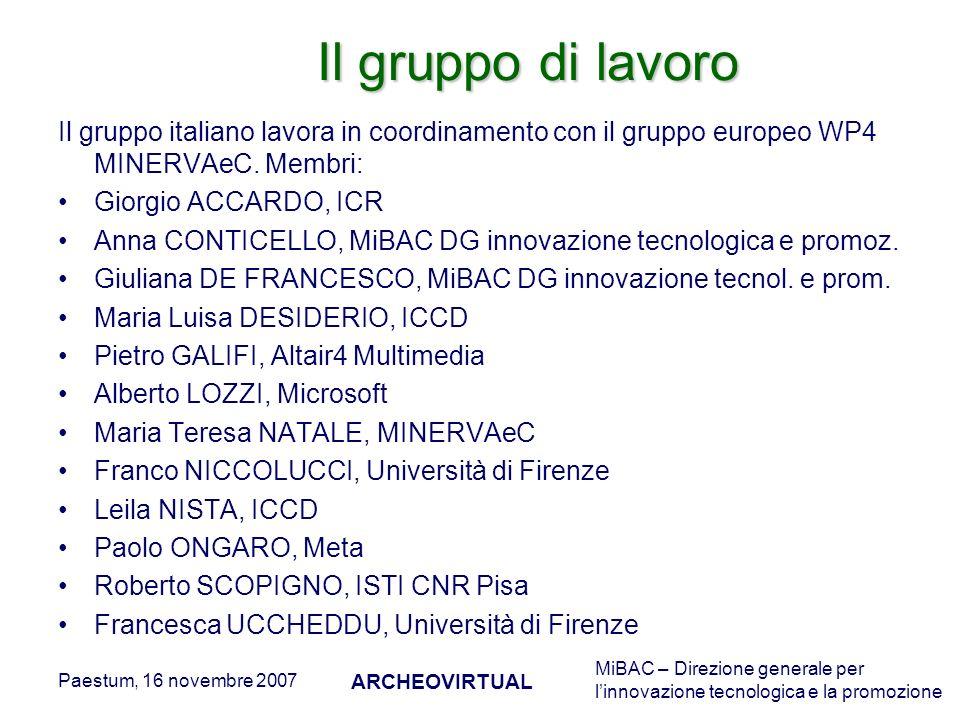MiBAC – Direzione generale per linnovazione tecnologica e la promozione Paestum, 16 novembre 2007 ARCHEOVIRTUAL Il gruppo di lavoro Il gruppo italiano lavora in coordinamento con il gruppo europeo WP4 MINERVAeC.
