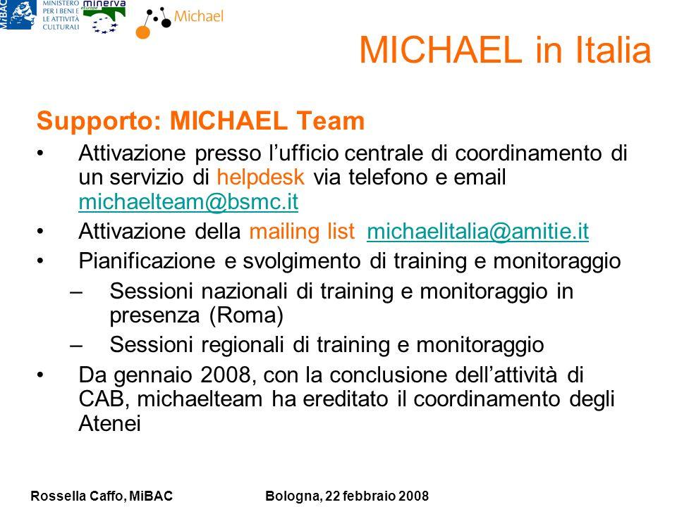 Rossella Caffo, MiBACBologna, 22 febbraio 2008 Supporto: MICHAEL Team Attivazione presso lufficio centrale di coordinamento di un servizio di helpdesk