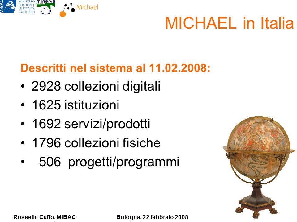 Rossella Caffo, MiBACBologna, 22 febbraio 2008 MICHAEL in Italia Descritti nel sistema al 11.02.2008: 2928 collezioni digitali 1625 istituzioni 1692 servizi/prodotti 1796 collezioni fisiche 506 progetti/programmi