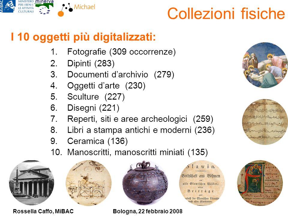 Rossella Caffo, MiBACBologna, 22 febbraio 2008 Collezioni fisiche I 10 oggetti più digitalizzati: 1.Fotografie (309 occorrenze) 2.Dipinti (283) 3.Documenti darchivio (279) 4.Oggetti darte (230) 5.Sculture (227) 6.Disegni (221) 7.Reperti, siti e aree archeologici (259) 8.Libri a stampa antichi e moderni (236) 9.Ceramica (136) 10.Manoscritti, manoscritti miniati (135)