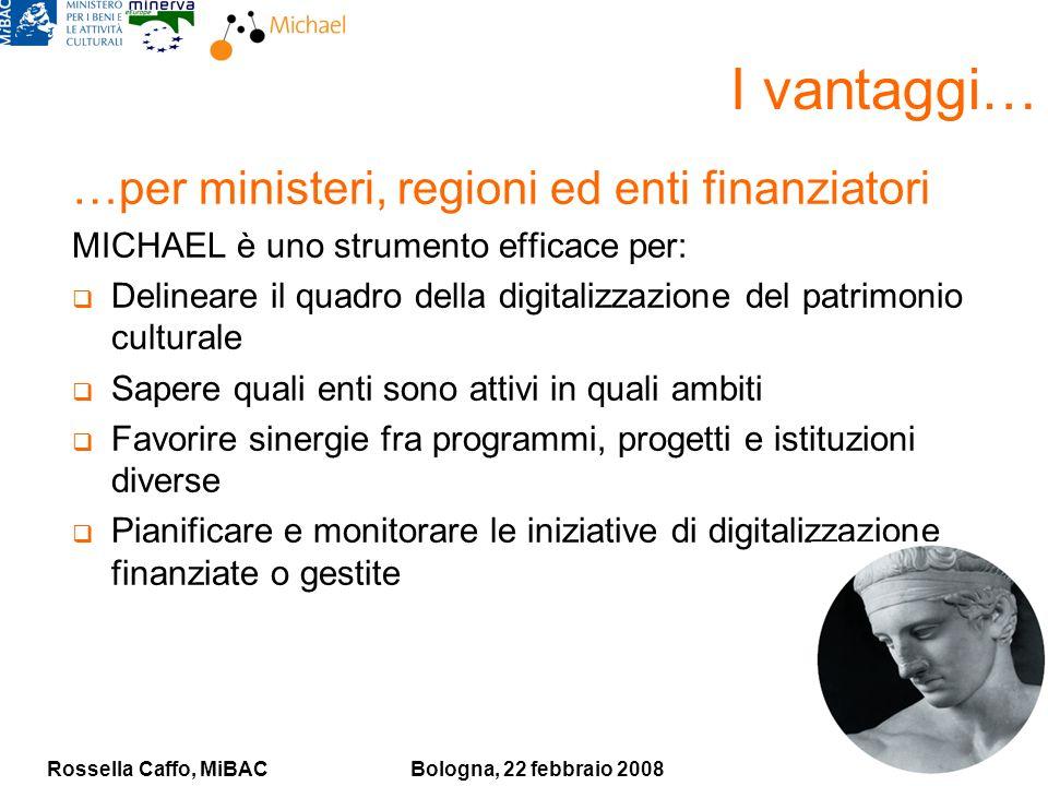Rossella Caffo, MiBACBologna, 22 febbraio 2008 I vantaggi… …per ministeri, regioni ed enti finanziatori MICHAEL è uno strumento efficace per: Delinear