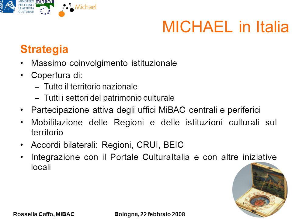 Rossella Caffo, MiBACBologna, 22 febbraio 2008 MICHAEL in Italia Strategia Massimo coinvolgimento istituzionale Copertura di: –Tutto il territorio naz