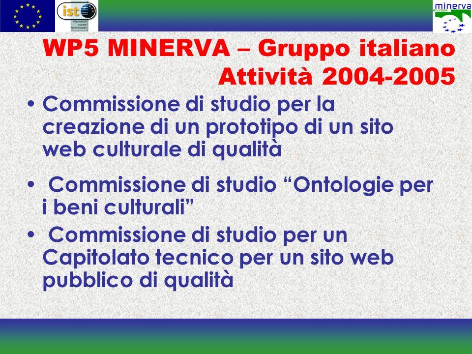 WP5 MINERVA – Gruppo italiano Attività 2004-2005 Commissione di studio per la creazione di un prototipo di un sito web culturale di qualità Commission