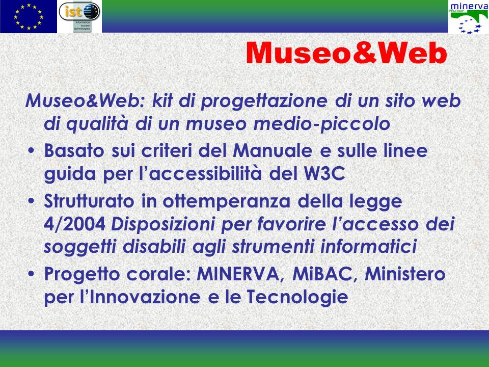 Museo&Web Museo&Web: kit di progettazione di un sito web di qualità di un museo medio-piccolo Basato sui criteri del Manuale e sulle linee guida per l
