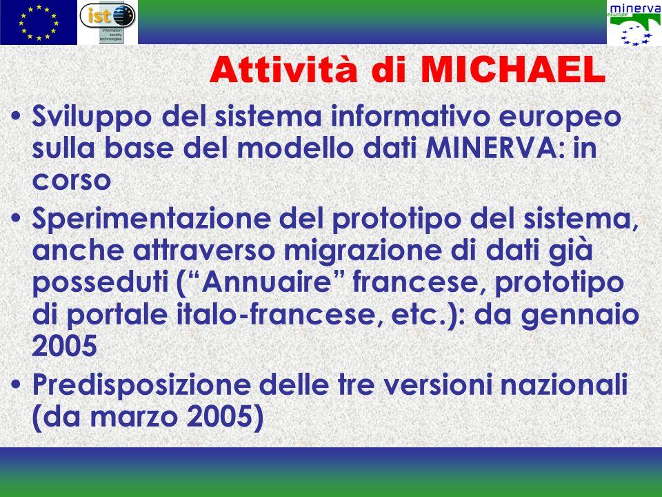 Attività di MICHAEL Sviluppo del sistema informativo europeo sulla base del modello dati MINERVA: in corso Sperimentazione del prototipo del sistema,
