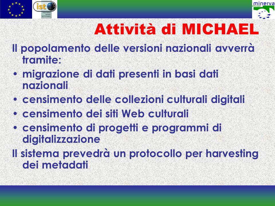 Attività di MICHAEL Il popolamento delle versioni nazionali avverrà tramite: migrazione di dati presenti in basi dati nazionali censimento delle colle