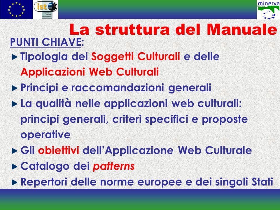 La struttura del Manuale PUNTI CHIAVE: Tipologia dei Soggetti Culturali e delle Applicazioni Web Culturali Principi e raccomandazioni generali La qual