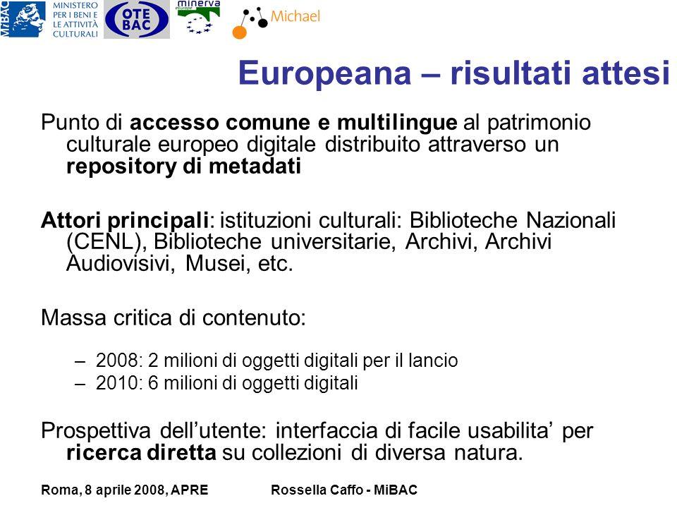 Roma, 8 aprile 2008, APRERossella Caffo - MiBAC Punto di accesso comune e multilingue al patrimonio culturale europeo digitale distribuito attraverso un repository di metadati Attori principali: istituzioni culturali: Biblioteche Nazionali (CENL), Biblioteche universitarie, Archivi, Archivi Audiovisivi, Musei, etc.