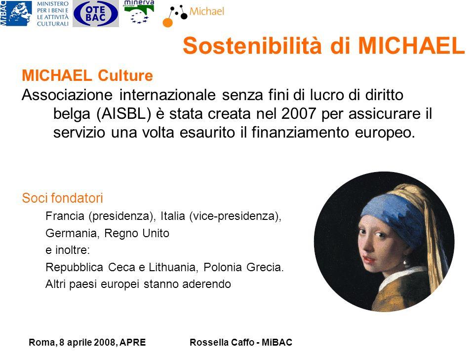 Roma, 8 aprile 2008, APRERossella Caffo - MiBAC Sostenibilità di MICHAEL MICHAEL Culture Associazione internazionale senza fini di lucro di diritto belga (AISBL) è stata creata nel 2007 per assicurare il servizio una volta esaurito il finanziamento europeo.