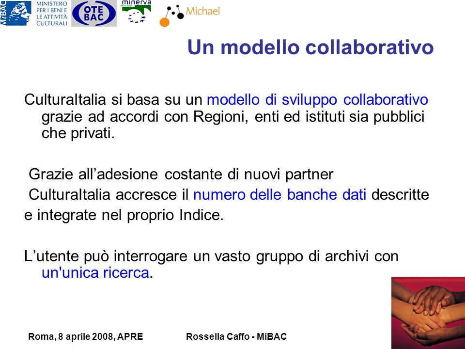 Roma, 8 aprile 2008, APRERossella Caffo - MiBAC CulturaItalia si basa su un modello di sviluppo collaborativo grazie ad accordi con Regioni, enti ed istituti sia pubblici che privati.