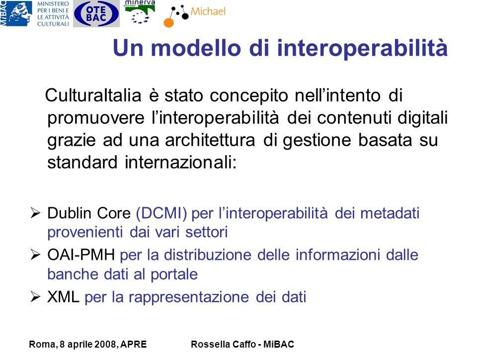 Roma, 8 aprile 2008, APRERossella Caffo - MiBAC Un modello di interoperabilità CulturaItalia è stato concepito nellintento di promuovere linteroperabilità dei contenuti digitali grazie ad una architettura di gestione basata su standard internazionali: Dublin Core (DCMI) per linteroperabilità dei metadati provenienti dai vari settori OAI-PMH per la distribuzione delle informazioni dalle banche dati al portale XML per la rappresentazione dei dati