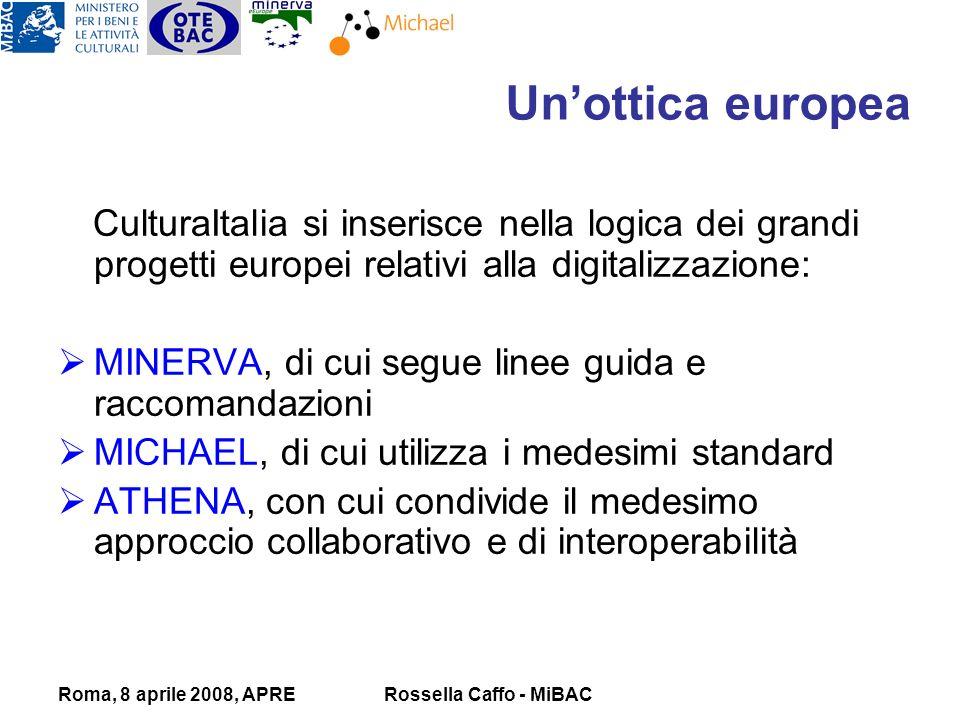 Roma, 8 aprile 2008, APRERossella Caffo - MiBAC CulturaItalia si inserisce nella logica dei grandi progetti europei relativi alla digitalizzazione: MINERVA, di cui segue linee guida e raccomandazioni MICHAEL, di cui utilizza i medesimi standard ATHENA, con cui condivide il medesimo approccio collaborativo e di interoperabilità Unottica europea