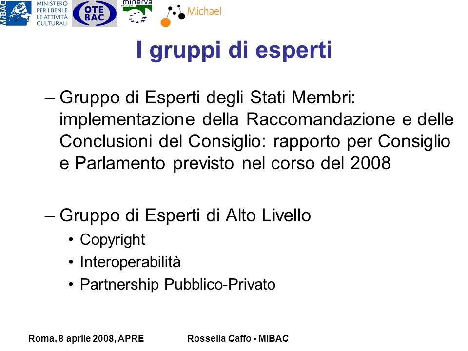 Roma, 8 aprile 2008, APRERossella Caffo - MiBAC –Gruppo di Esperti degli Stati Membri: implementazione della Raccomandazione e delle Conclusioni del Consiglio: rapporto per Consiglio e Parlamento previsto nel corso del 2008 –Gruppo di Esperti di Alto Livello Copyright Interoperabilità Partnership Pubblico-Privato I gruppi di esperti