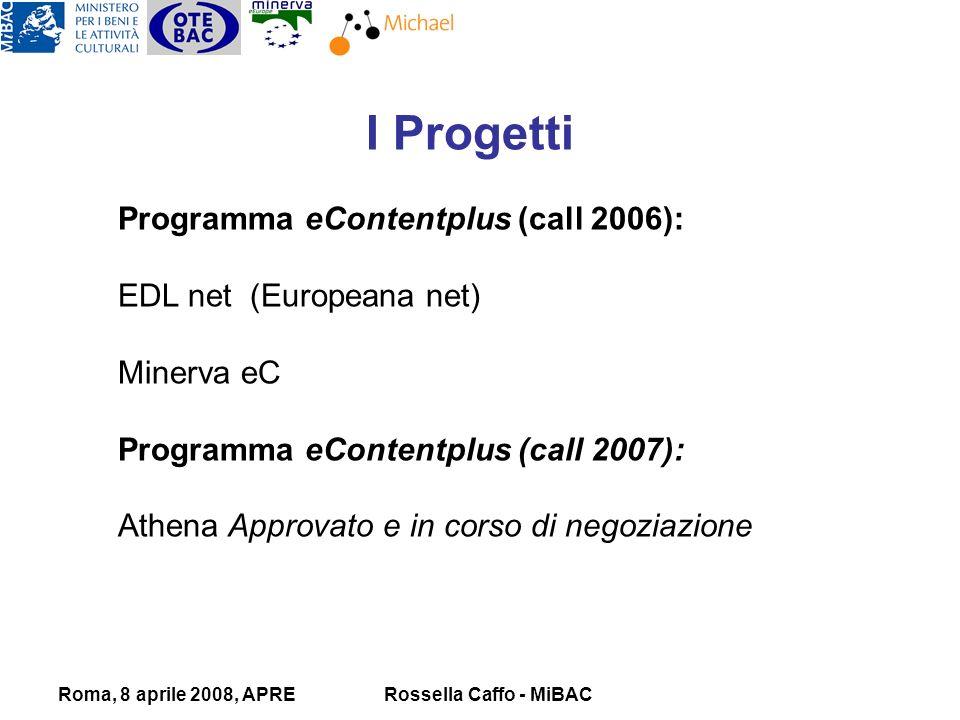 Roma, 8 aprile 2008, APRERossella Caffo - MiBAC I Progetti Programma eContentplus (call 2006): EDL net (Europeana net) Minerva eC Programma eContentplus (call 2007): Athena Approvato e in corso di negoziazione