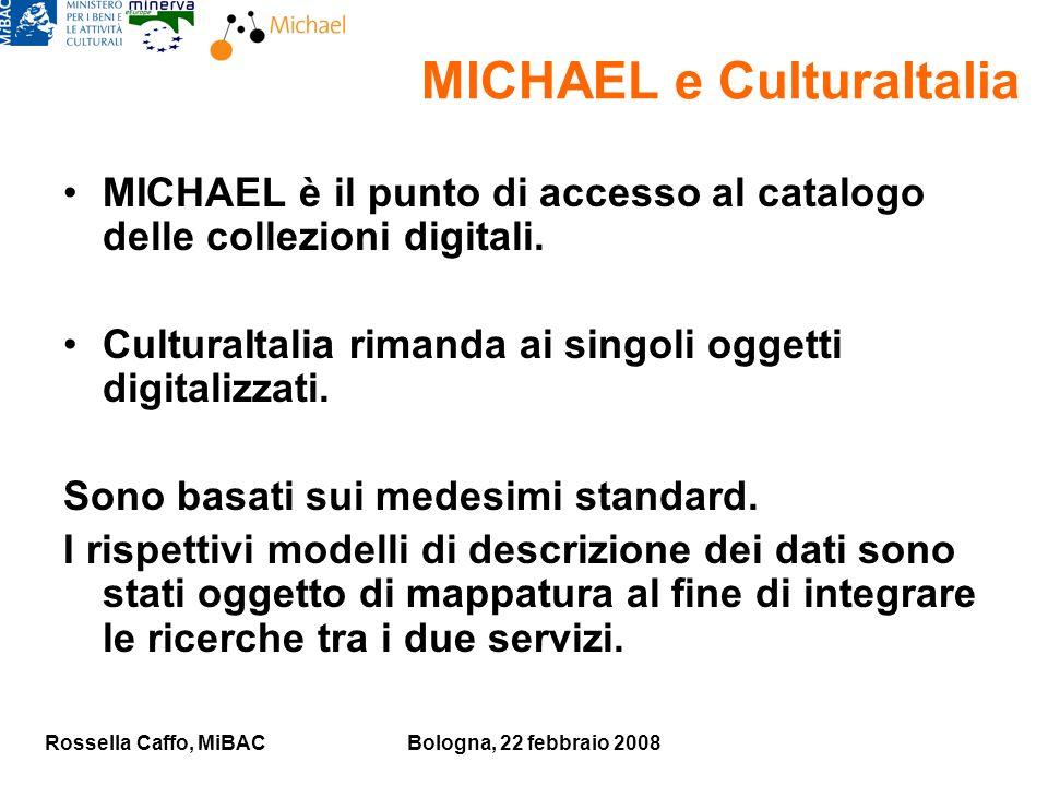 Rossella Caffo, MiBACBologna, 22 febbraio 2008 MICHAEL e CulturaItalia MICHAEL è il punto di accesso al catalogo delle collezioni digitali.