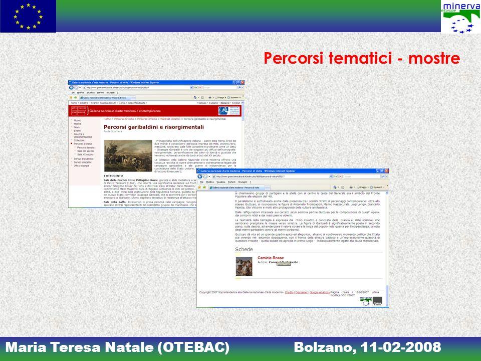 Maria Teresa Natale (OTEBAC)Bolzano, 11-02-2008 Percorsi tematici - mostre
