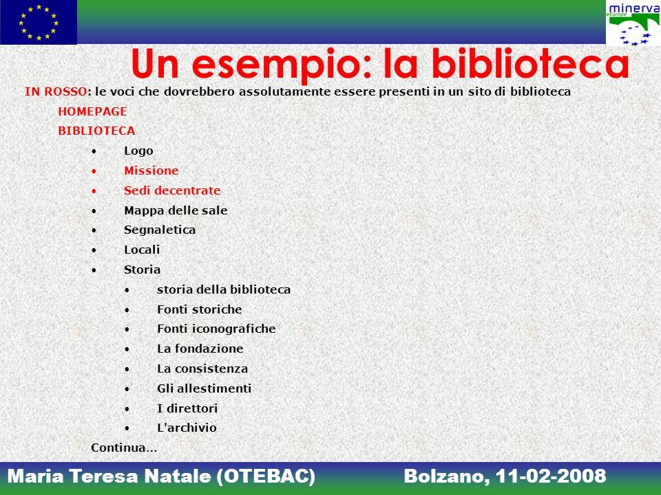 Maria Teresa Natale (OTEBAC)Bolzano, 11-02-2008 Un esempio: la biblioteca IN ROSSO: le voci che dovrebbero assolutamente essere presenti in un sito di