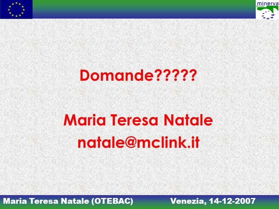 Maria Teresa Natale (OTEBAC)Venezia, 14-12-2007 Domande????? Maria Teresa Natale natale@mclink.it