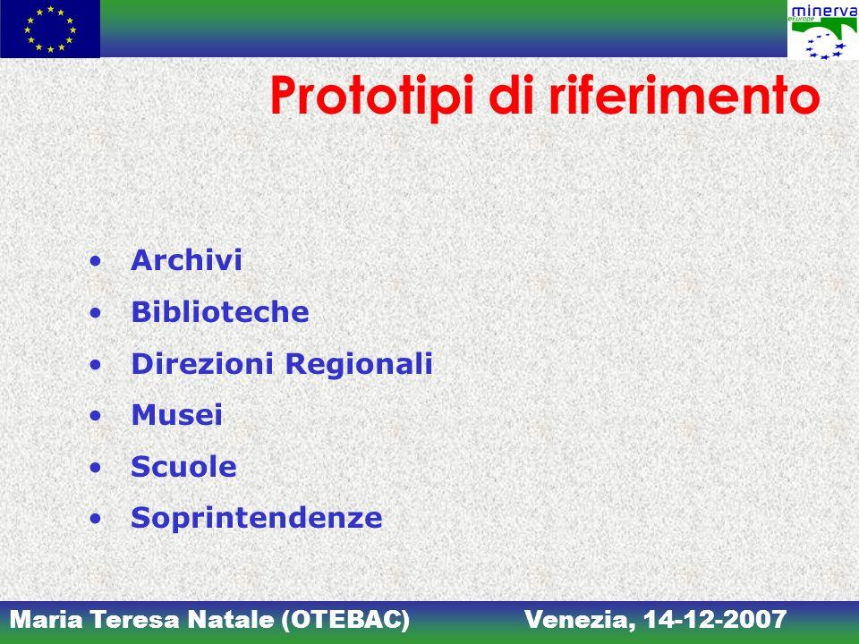 Maria Teresa Natale (OTEBAC)Venezia, 14-12-2007 Prototipi di riferimento Archivi Biblioteche Direzioni Regionali Musei Scuole Soprintendenze