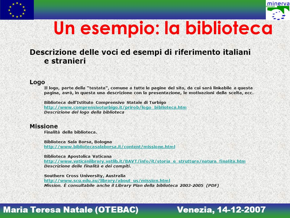 Maria Teresa Natale (OTEBAC)Venezia, 14-12-2007 Un esempio: la biblioteca Descrizione delle voci ed esempi di riferimento italiani e stranieri Logo Il
