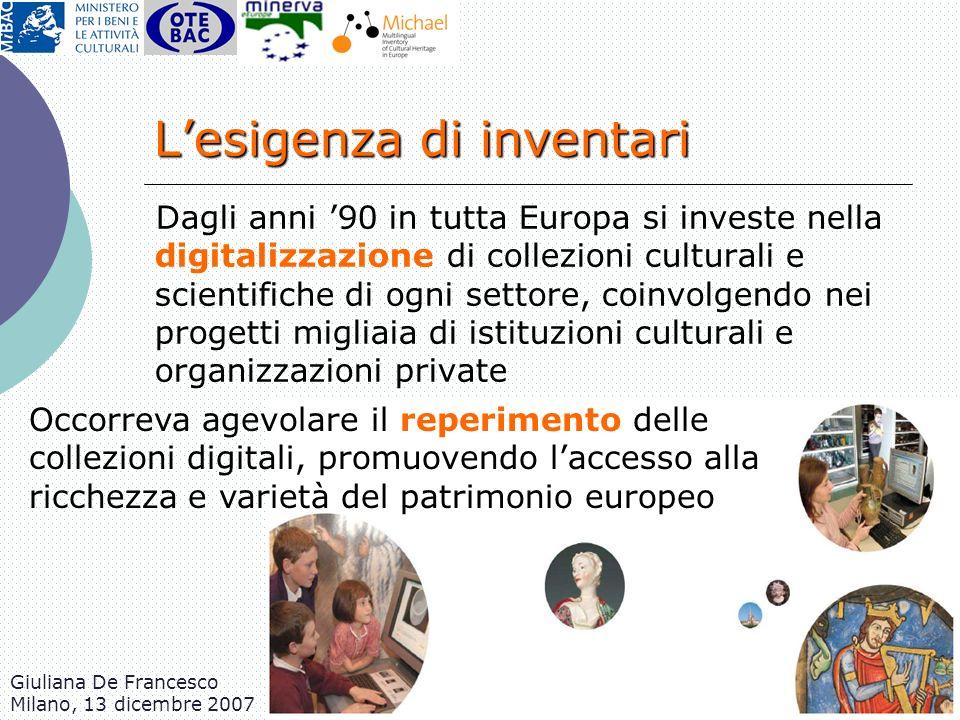 Giuliana De Francesco Milano, 13 dicembre 2007 Lesigenza di inventari Dagli anni 90 in tutta Europa si investe nella digitalizzazione di collezioni cu