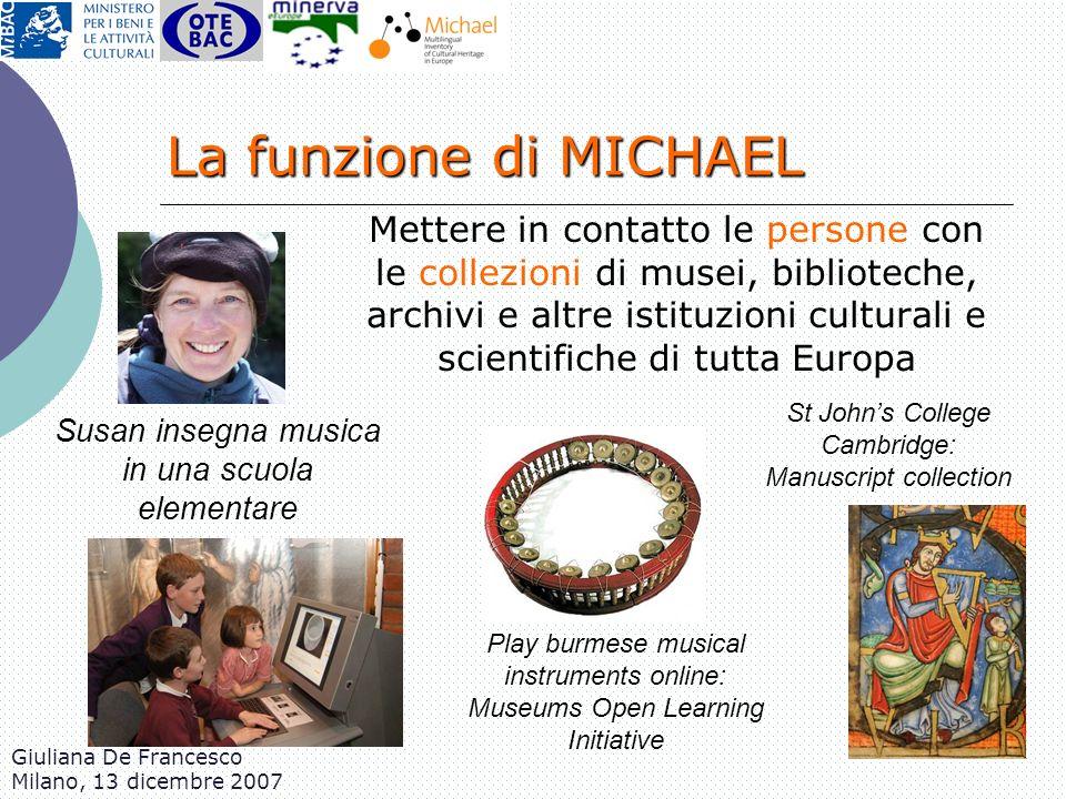 Giuliana De Francesco Milano, 13 dicembre 2007 Mettere in contatto le persone con le collezioni di musei, biblioteche, archivi e altre istituzioni cul