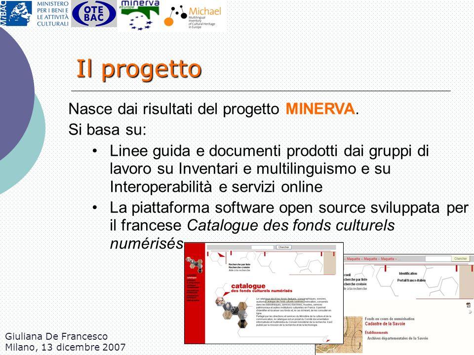 Giuliana De Francesco Milano, 13 dicembre 2007 Nasce dai risultati del progetto MINERVA. Si basa su: Linee guida e documenti prodotti dai gruppi di la