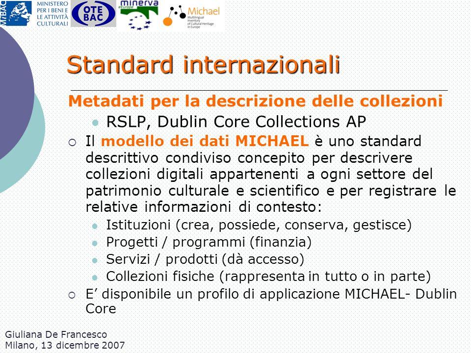 Giuliana De Francesco Milano, 13 dicembre 2007 Standard internazionali Metadati per la descrizione delle collezioni RSLP, Dublin Core Collections AP I