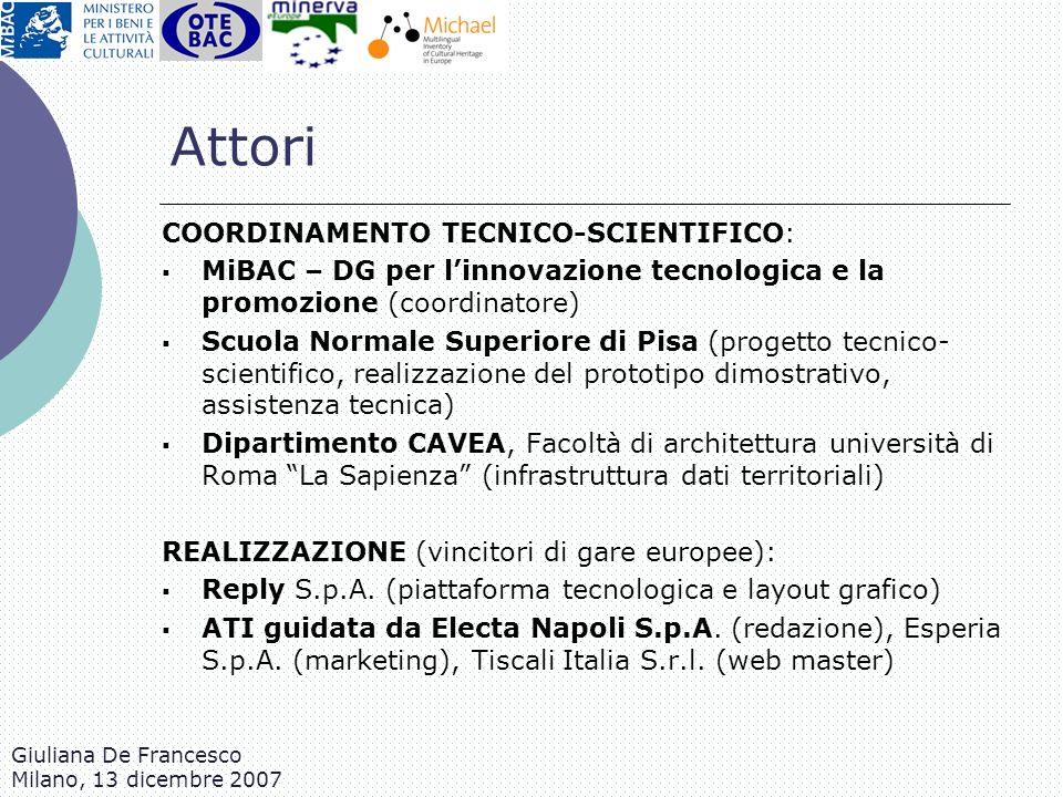 Giuliana De Francesco Milano, 13 dicembre 2007 Attori COORDINAMENTO TECNICO-SCIENTIFICO: MiBAC – DG per linnovazione tecnologica e la promozione (coor