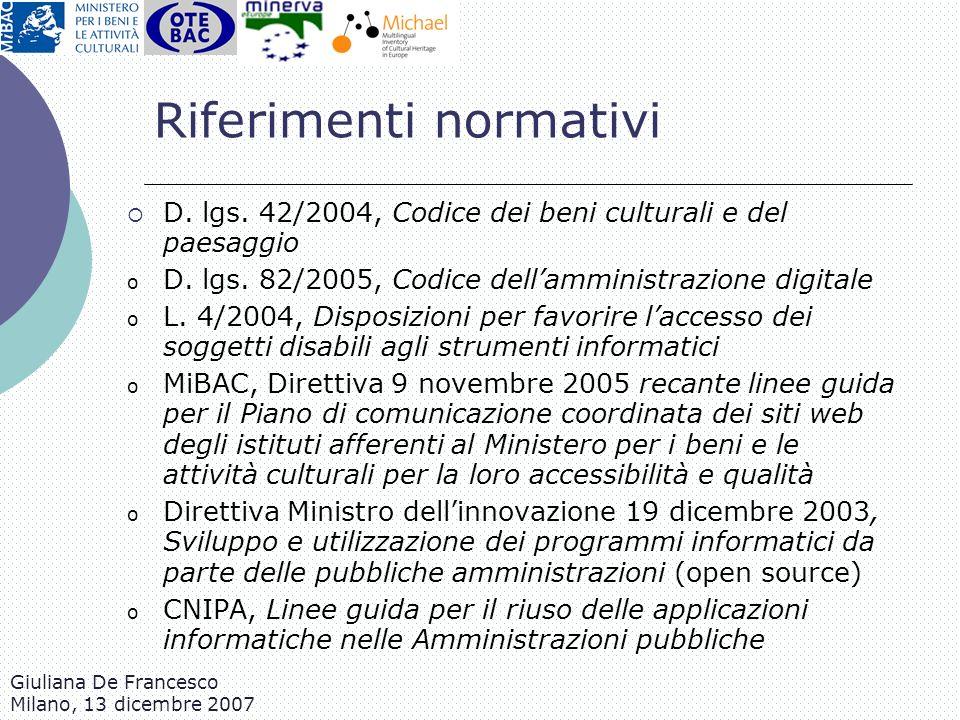 Giuliana De Francesco Milano, 13 dicembre 2007 Riferimenti normativi D. lgs. 42/2004, Codice dei beni culturali e del paesaggio o D. lgs. 82/2005, Cod