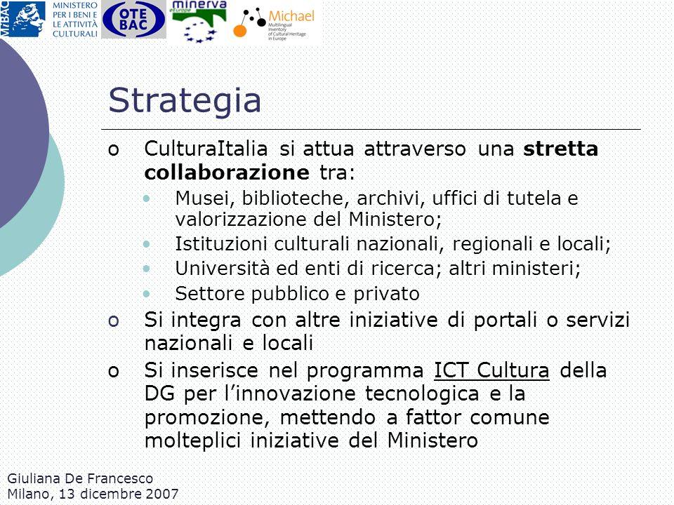 Giuliana De Francesco Milano, 13 dicembre 2007 Strategia oCulturaItalia si attua attraverso una stretta collaborazione tra: Musei, biblioteche, archiv