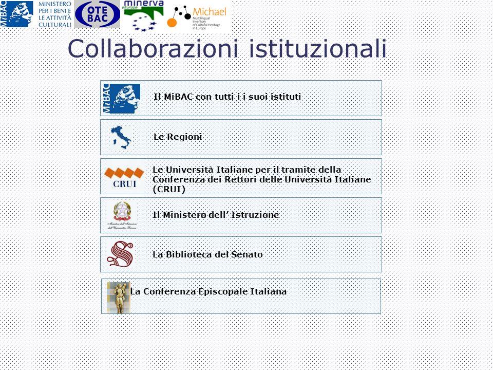 Le Regioni Il MiBAC con tutti i i suoi istituti Le Università Italiane per il tramite della Conferenza dei Rettori delle Università Italiane (CRUI) Il