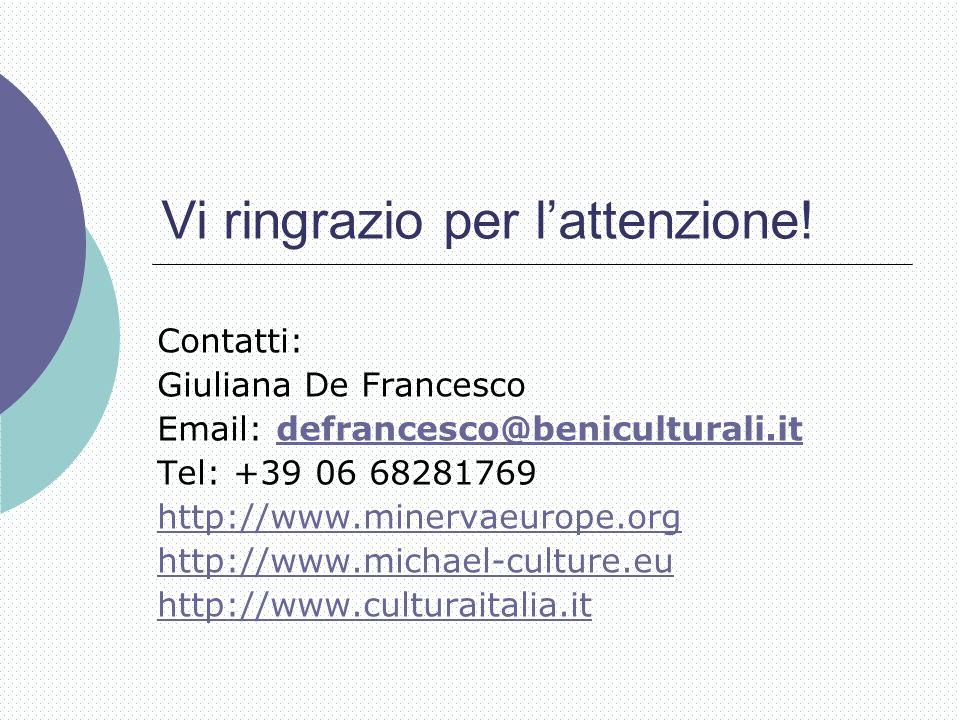 Vi ringrazio per lattenzione! Contatti: Giuliana De Francesco Email: defrancesco@beniculturali.itdefrancesco@beniculturali.it Tel: +39 06 68281769 htt