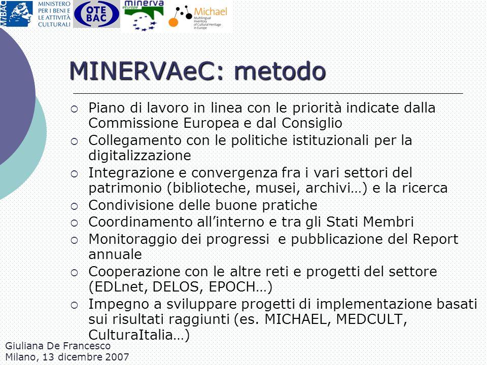 Giuliana De Francesco Milano, 13 dicembre 2007 Piano di lavoro in linea con le priorità indicate dalla Commissione Europea e dal Consiglio Collegament