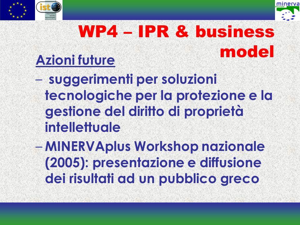 WP4 – IPR & business model Azioni future – suggerimenti per soluzioni tecnologiche per la protezione e la gestione del diritto di proprietà intellettuale – MINERVAplus Workshop nazionale (2005): presentazione e diffusione dei risultati ad un pubblico greco