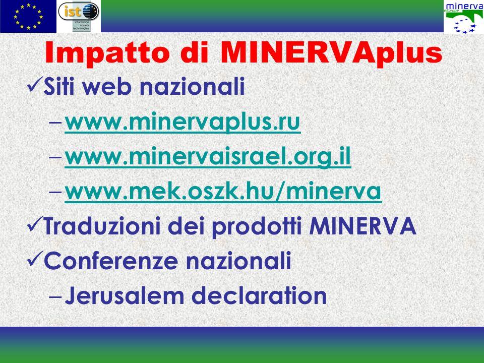 Impatto di MINERVAplus Siti web nazionali – www.minervaplus.ru www.minervaplus.ru – www.minervaisrael.org.il www.minervaisrael.org.il – www.mek.oszk.hu/minerva www.mek.oszk.hu/minerva Traduzioni dei prodotti MINERVA Conferenze nazionali – Jerusalem declaration