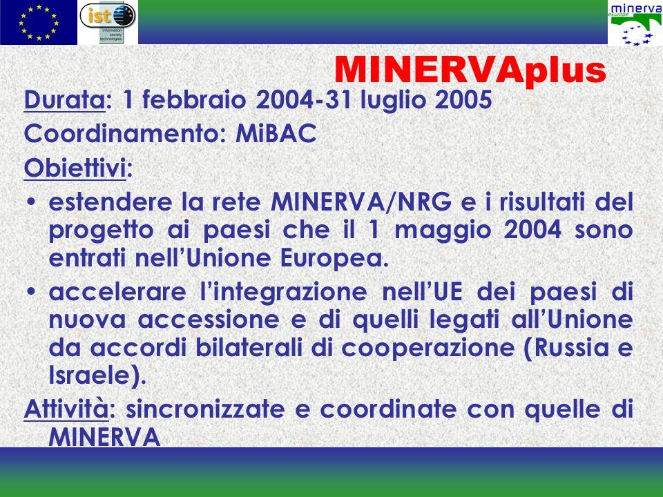 MINERVAplus Durata: 1 febbraio 2004-31 luglio 2005 Coordinamento: MiBAC Obiettivi: estendere la rete MINERVA/NRG e i risultati del progetto ai paesi che il 1 maggio 2004 sono entrati nellUnione Europea.