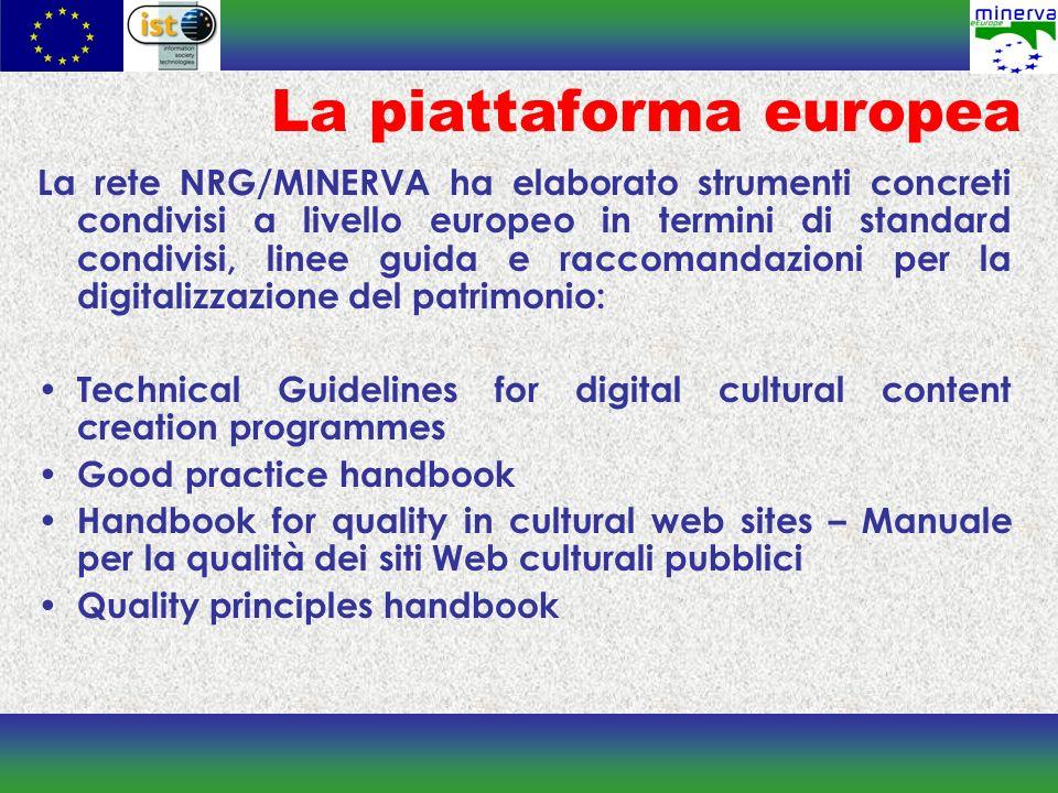 Il cluster MINERVA, con lobiettivo di creare unarea di ricerca comune europea, evitare la duplicazione degli sforzi e massimizzare limpatto dei risultati, ha promosso incontri e avviato attività di collaborazione con le maggiori reti culturali europee, molte delle quali finanziate nellambito del 6 Programma Quadro.