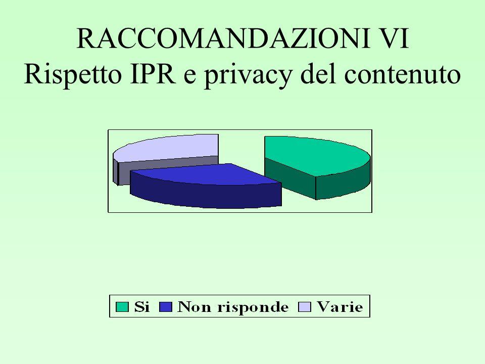 RACCOMANDAZIONI VI Rispetto IPR e privacy del contenuto