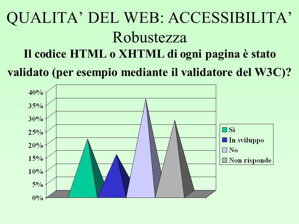 QUALITA DEL WEB: ACCESSIBILITA Robustezza Il codice HTML o XHTML di ogni pagina è stato validato (per esempio mediante il validatore del W3C)