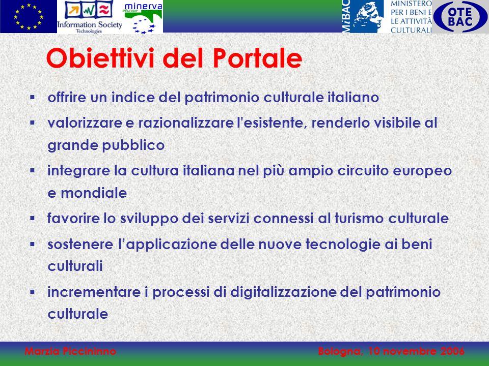 Marzia PiccininnoBologna, 10 novembre 2006 offrire un indice del patrimonio culturale italiano valorizzare e razionalizzare l'esistente, renderlo visi