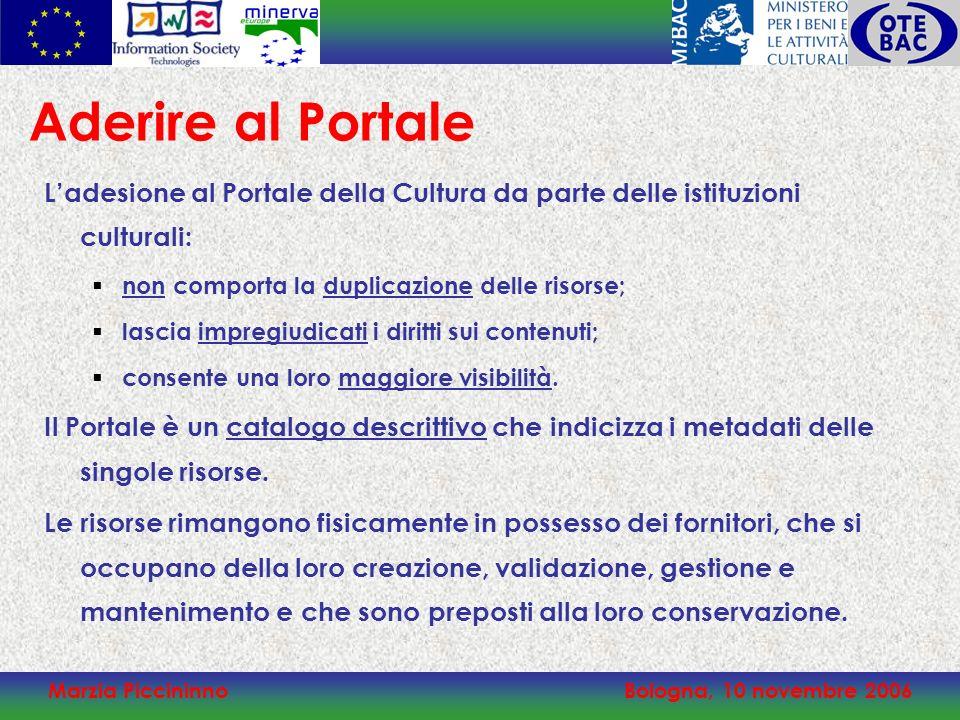 Marzia PiccininnoBologna, 10 novembre 2006 Ladesione al Portale della Cultura da parte delle istituzioni culturali: non comporta la duplicazione delle