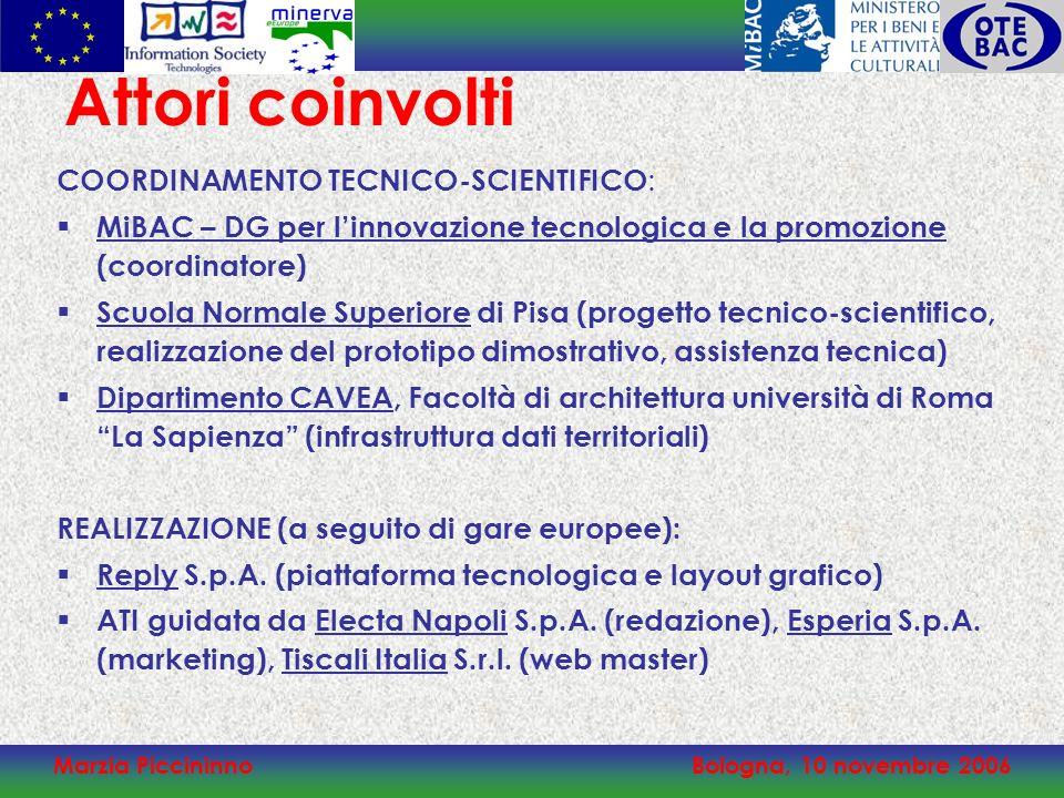 Marzia PiccininnoBologna, 10 novembre 2006 COORDINAMENTO TECNICO-SCIENTIFICO : MiBAC – DG per linnovazione tecnologica e la promozione (coordinatore)