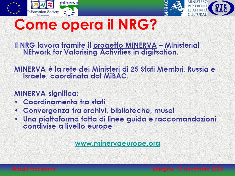 Marzia PiccininnoBologna, 10 novembre 2006 Come opera il NRG? Il NRG lavora tramite il progetto MINERVA – MInisterial NEtwork for Valorising Activitie