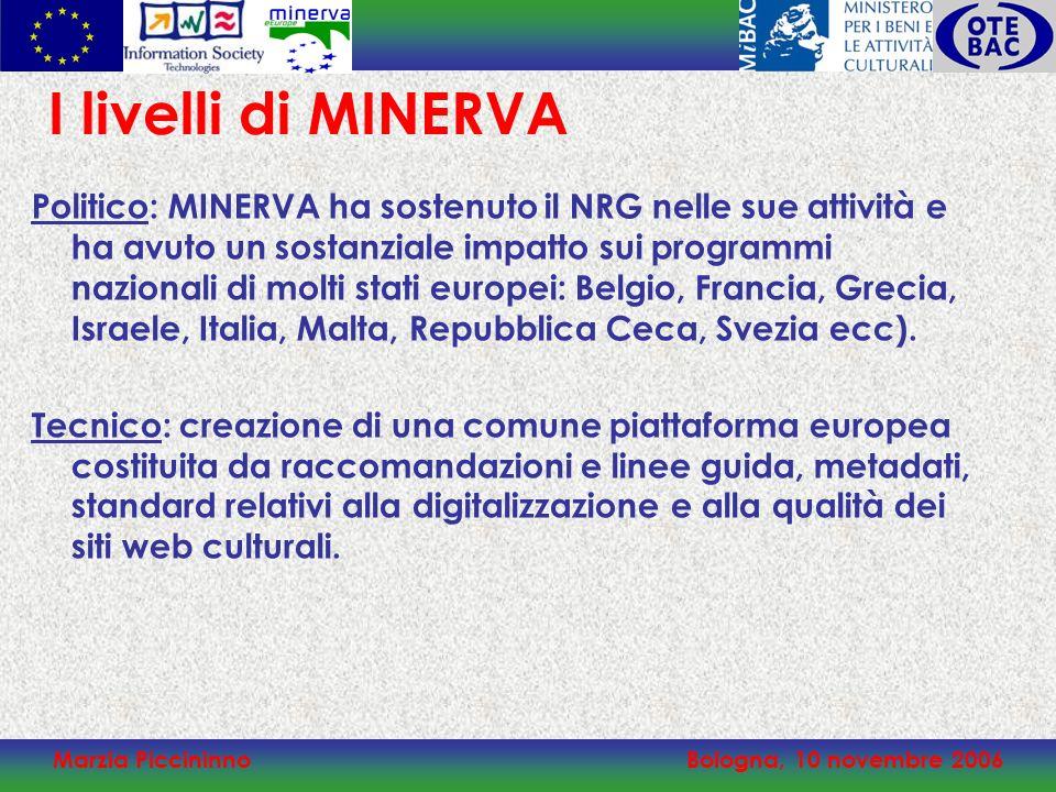 Marzia PiccininnoBologna, 10 novembre 2006 I livelli di MINERVA Politico: MINERVA ha sostenuto il NRG nelle sue attività e ha avuto un sostanziale imp