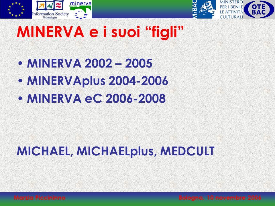 Marzia PiccininnoBologna, 10 novembre 2006 MINERVA e i suoi figli MINERVA 2002 – 2005 MINERVAplus 2004-2006 MINERVA eC 2006-2008 MICHAEL, MICHAELplus, MEDCULT